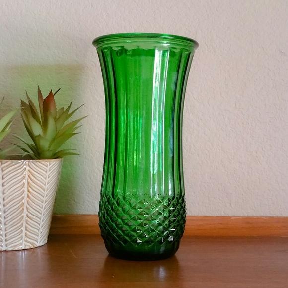 Vintage Hoosier Green Emerald Glass Vase